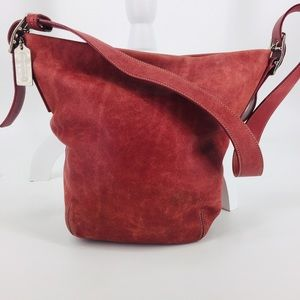Coach Red Leather Bucket Bag